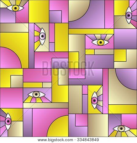 Hipster pattern with eyes in geometric shapes grid mondrian avant garde fashion textile print. Modern background design. Open eyes bauhaus geometric seamless pattern. Interior vector design. poster