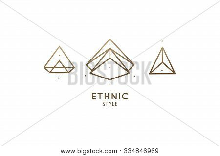 Set Linear Abstract Logo Of Diamonds Or Simple Mountains. Gemstone Icons Vector, Brilliant Signs, Cr