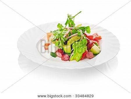 Salad from different kinds of sausages, cucumbers, peppers, lettuce with sour cream sauce poster