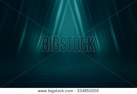 Empty Background Scene. Dark Street Reflection On Wet Asphalt. Rays Of Neon Light In The Dark, Neon