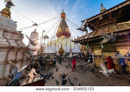 Kathmandu, Nepal - November 17 2019 - Sunrise Morning View Of Swayambhunath Stupa Or Monkey Temple B