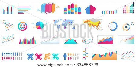 Bundle Of Charts, Diagrams, Schemes, Graphs, Plots Of Various Types. Statistical Data And Financial