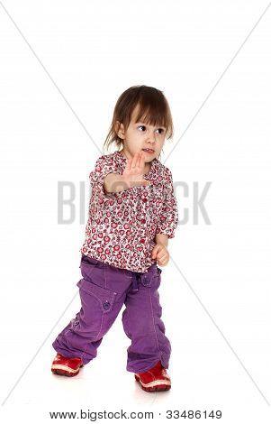 Beautiful Happy Little Caucasian Girl Posing