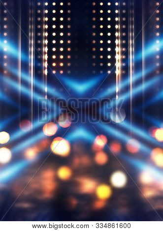 Empty Abstract Background. Reflection Of Blurry City Lights On Asphalt, Smoke, Bokeh. Neon Multi-col