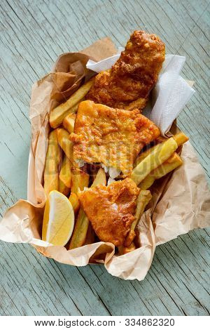Fish And Chips Served As A Takeaway