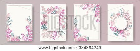 Wild Herb Twigs, Tree Branches, Leaves Floral Invitation Cards Set. Bouquet Wreath Elegant Cards Des