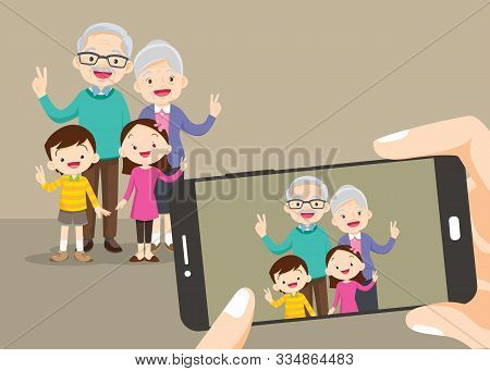 Grandparents And Grandchildren. Group Of People Standing. Little Boy, Teenager Girl,grandparents Wit