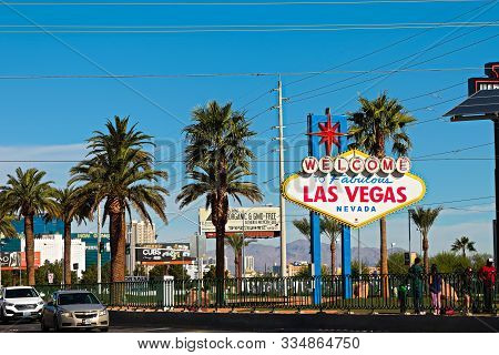Las Vegas, Nv/usa - 1 Nov,2015 : The Welcome To Fabulous Las Vegas Sign On Bright Sunny Day.welcome