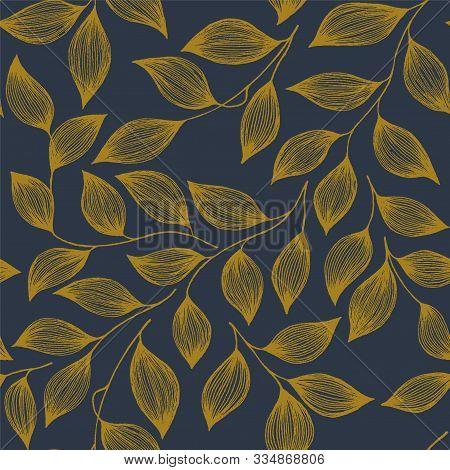 Packaging Tea Leaves Organic Seamless Pattern Vector. Decorative Tea Plant Bush Brown Leaves Floral
