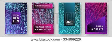 Advertising Banners Or Covers. Pink Blue Purple Synthwave Textures. Fluid Buzzing Wavy Noise Ripple