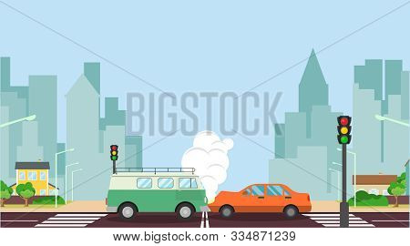 Car Accident Concept Illustration. Two Cars Crashed On The Road, Suffered Moderate Damage. Car Accid