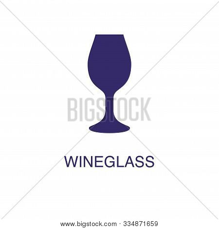 Wineglass Element In Flat Simple Style On White Background. Wineglass Icon, With Text Name Concept T
