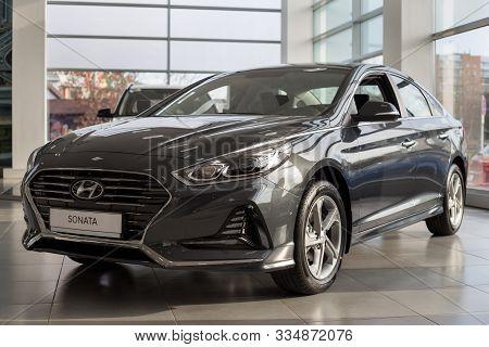 Russia, Izhevsk - October 30, 2019: New Modern Sonata In The Hyundai Showroom. Famous World Brand.