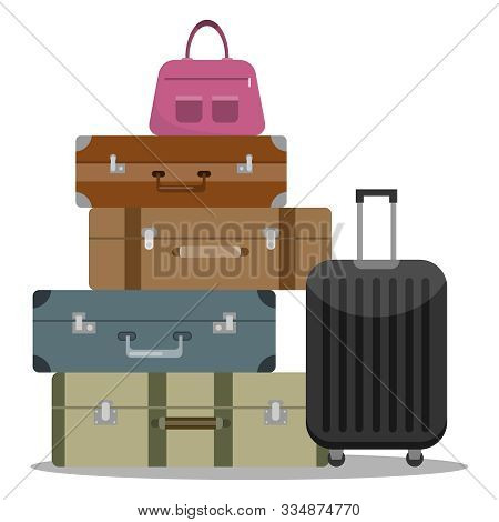 A Set Of Tourist Suitcases. Different Options For Tourist Suitcases. A Large Set Of Tourist Suitcase