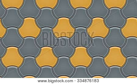 Seamless Pattern Of Tiled Cobblestone Pavers. Geometric Mosaic Street Tiles. Gray And Yellow Color.