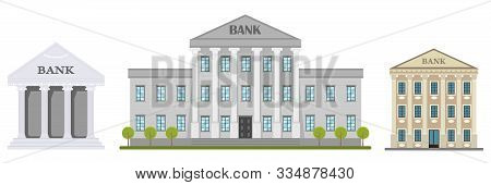 Cartoon Retro Bank Building Or Courthouse With Columns Vector Illustration. Bank Building Isolated O