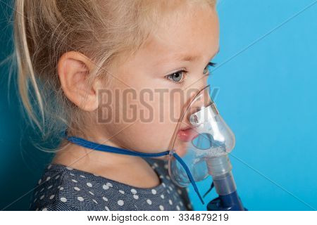 Oxygen Therapy Mask, Hypoxia Asthma. Kid Girl.