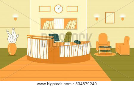 Flat Banner Business Interior Hall Reception. Spacious Room For Meeting Guests Or Customers. On Semi