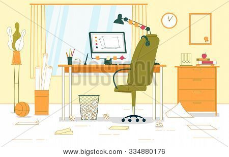 Business Interior Home Office Vector Illustration. Workspace In Home Office. Near Window There Is Ta