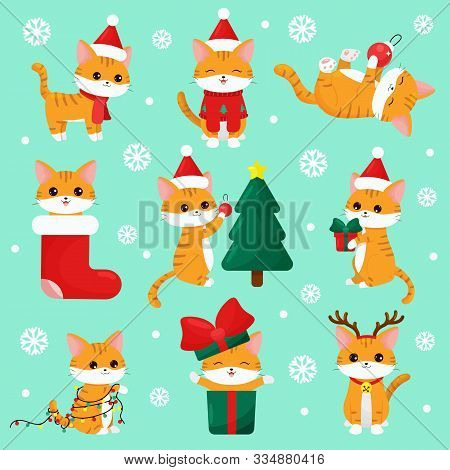 Cute Kawaii Cats With Gifts, Christmas Tree, Garland, Dressed Up Deer And Sweater. Cartoon Vector Ch