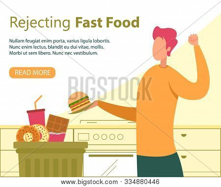Rejecting Fast Food, Healthy Nutrition For Weight Loss Flat Vector Banner, Poster Template With Happ