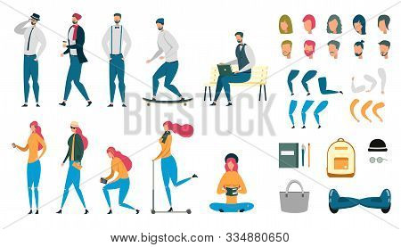 Male And Female People Animated Characters Set. Bundle Of Woman And Man Working And Resting. Student