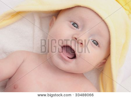 Sweet Child Under Yellow Towel