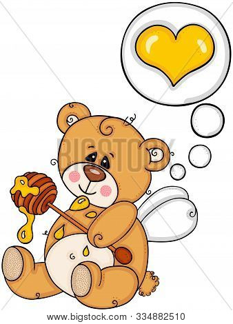 Scalable Vectorial Representing A Cute Teddy Bear Thinking About Love Eat Honey, Element For Design,
