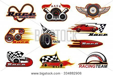 Car Races, Motor Street Racing Engine And Wheel Fire Flame Icons. Vector Racing Team Club Symbols, S