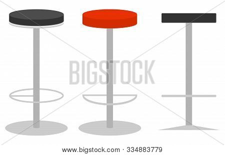 Bar Stool, Modern Metal Bar Stool. Bar Stool Side View And Isometric View. Vector Illustration. Vect
