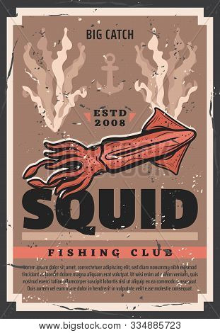 Vector Retro Poster With Cuttlefish Squid, Fisher Ship Anchor And Ocean Seaweeds, Professional Sea F