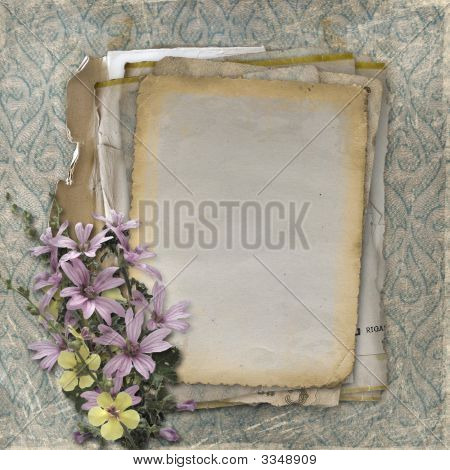 Grunge Papers Design In Scrapbooking Style With Bouquet