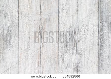 Gray White Wooden Texture. Closeup Of Light Gray Rustic Wooden Immitation Background. Beautiful Back