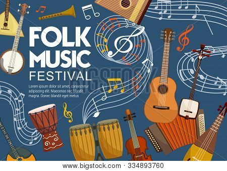 Folk Music Bands Festival Poster, Musical Instruments And Note Staff. Vector Stringed And Acoustic F