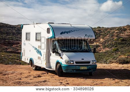 Pot Alley, Western Australia - July 3, 2018: Ford Transit Caravan Of The Sunliner Isle Company Which