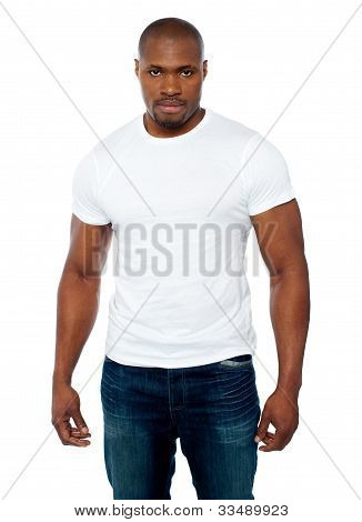Portrait Of Casual Muscular African Young Man