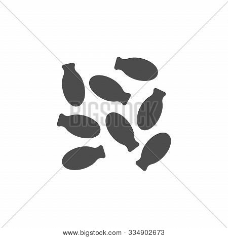 Cardamom Glyph Icon Or Seasoning Symbol Isolated On White. Vector Illustration