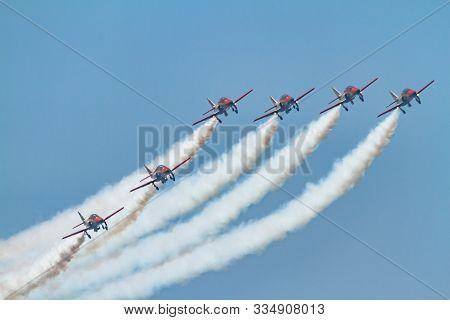 Torre Del Mar, Malaga, Spain-jul 27: Aircraft Casa C-101 Of The Patrulla Aguila Taking Part In A Exh