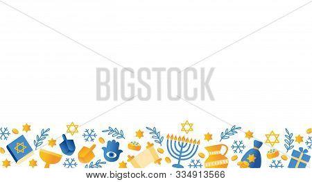 Jewish Holiday, Traditional Hanukkah Card, Symbols Of Hanukkah Symbols - Wooden Spinning Top, Donuts