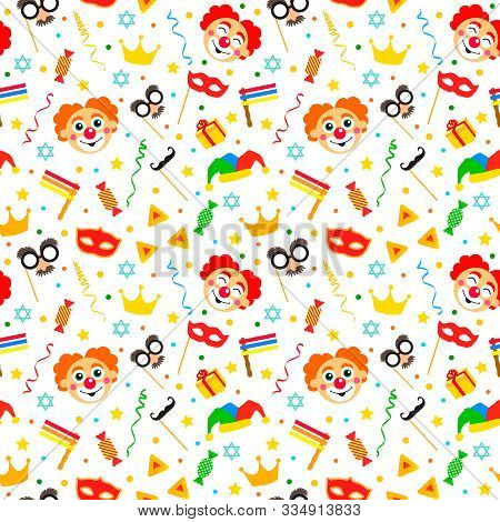 Happy Purim Jewish Festival Endless Background, Texture, Wallpaper. Seamless Pattern With Cartoon Ca