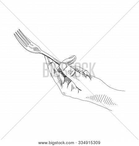 Hand Holding Fork Black And White Illustration