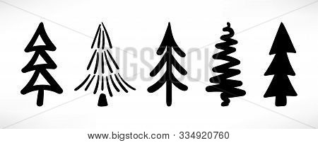 Set Of Cute Hand Drawn Christmas Trees Isolated On White Background. Scetch Stylized Spruce, Abstrac