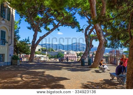 Genoa, Liguria, Italy - September 11, 2019: People Resting Near Lift Castelletto Levante, Liguria, I