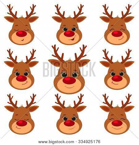 Collection, Set Of Nine Cute Reindeer Head Isolated On A White Background. Joyful, Happy, Sleeping,