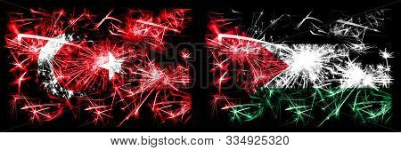 Turkey, Turkish Vs Palestine, Palestinian New Year Celebration Sparkling Fireworks Flags Concept Bac