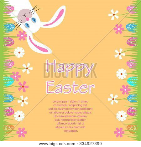 Funny Easter Bunny With Pink Long Ears. Cheerful Rabbit Hanging Upside Down. Greeting Card, Invitati
