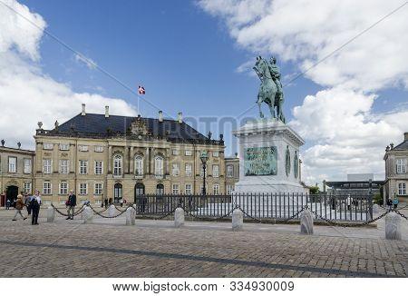 Copenhagen, Denmark, September 2012 - Monumental Equestrian Statue Of King Frederick V And Amalienbo