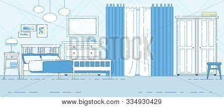 House Or Apartment Bedroom, Hotel Room Classic Interior Flat Vector Background With Comfortable Doub