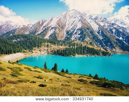 Spectacular Scenic Big Almaty Lake In Thetien Shan Mountains In Almaty, Kazakhstan, Central Asia Dur