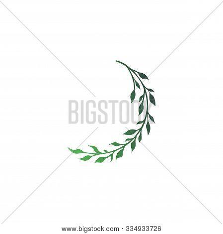 Vector Illustration - Stylish Twig Green Gradient Print Isolated. Twig Silhouette - Vegetation